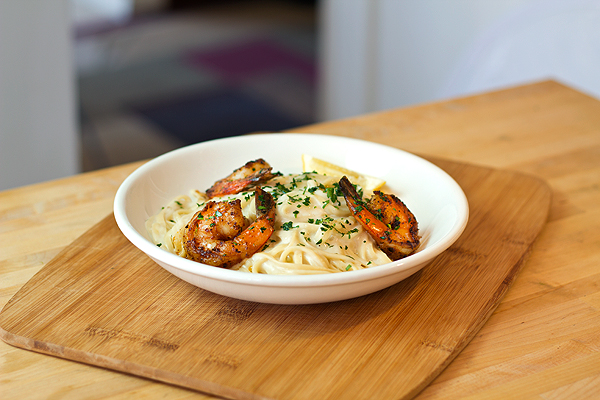 Linguini in Parmesan Almond Cream Sauce with Creole Shrimp