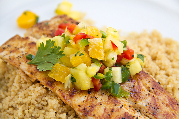 Grilled Mahi Mahi with Pineapple Salsa and Coconut Couscous