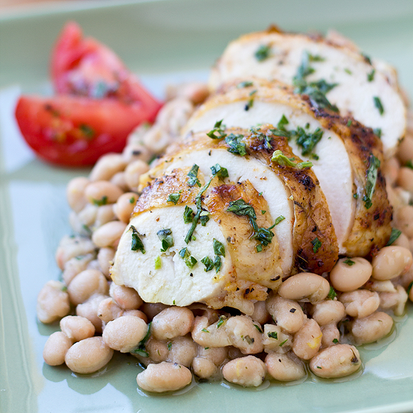 Post image for Roasted Chicken Over Creamy White Beans, Beautifully Rustic