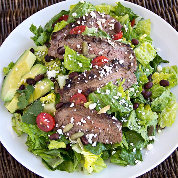 Steak Salad with Avocado, Black Beans and Cilantro-Lime Vinaigrette