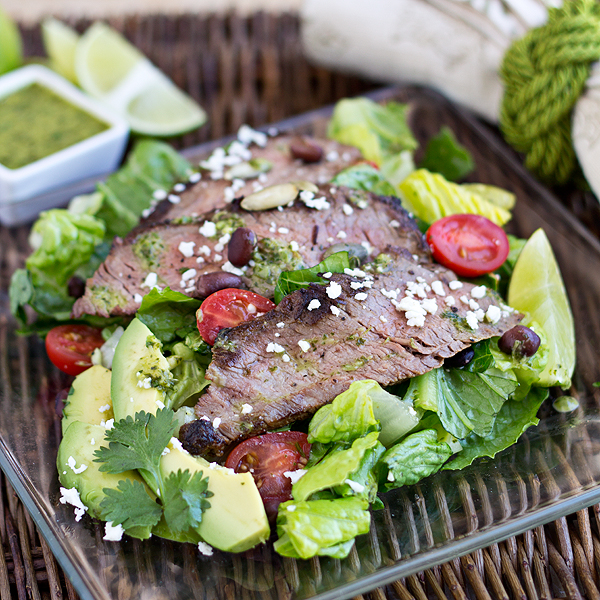 Steak Salad with Avocado, Black Beans and Cilantro-Lime Vinaigrette