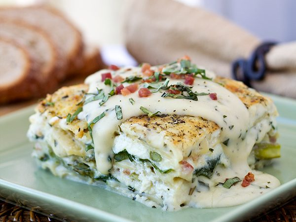 Six-Cheese Lasagna with Basil Cream Sauce