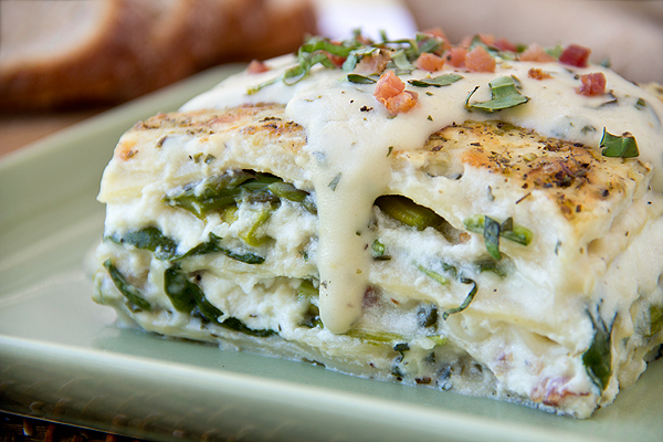 Six-Cheese Lasagna with Pancetta, Spinach and Asparagus in a Summer ...