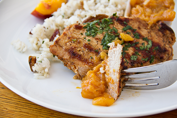 Pork Chops withToasted Pecan Rice and Peach Chutney
