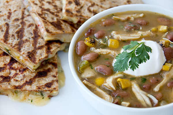 Chicken Chili with 3 Cheese Quesadilla | thecozyapron.com