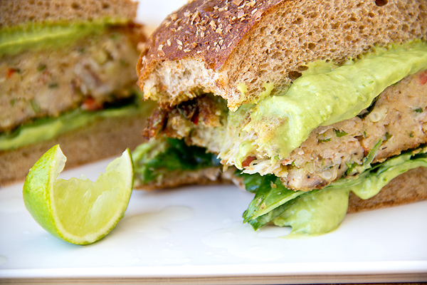 Southwestern Crab Cake Burgers with Avocado-Green Onion Mayo and ...