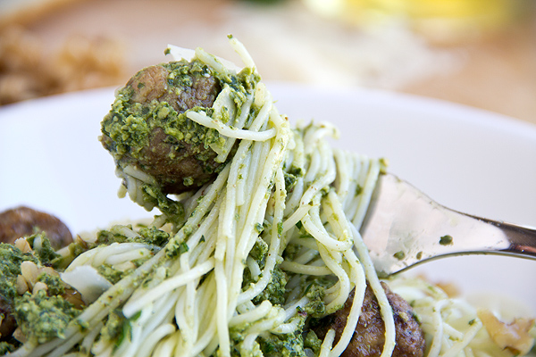 Angel Hair Pasta with Mini Meatballs and Pesto