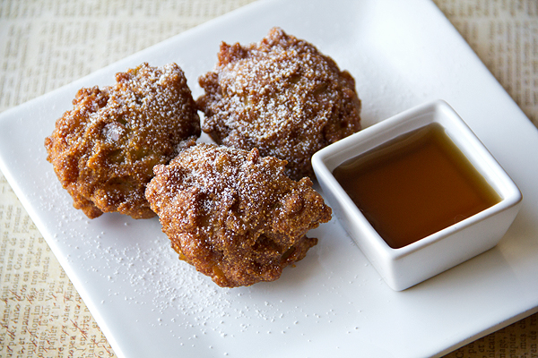 Apple Cider Hushpuppies with Powdered Sugar