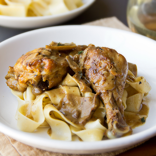 Braised Chicken in Porcini Wine Sauce over Buttered Pappardelle Noodles