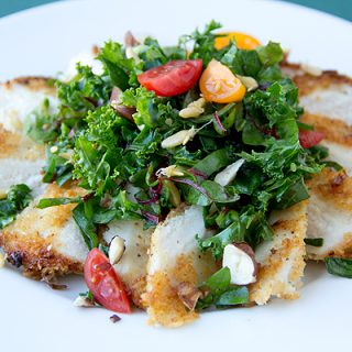 Cozy Cameo: Parmesan-Crusted Chicken With Kale And Chard Greens, Clean And Green