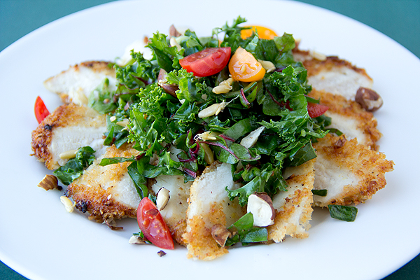 Post image for Cozy Cameo: Parmesan-Crusted Chicken With Kale And Chard Greens, Clean And Green
