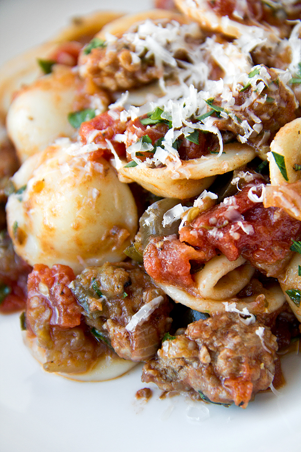 Orecchiette Pasta With Caramelized Eggplant and Spicy Pork Ragu