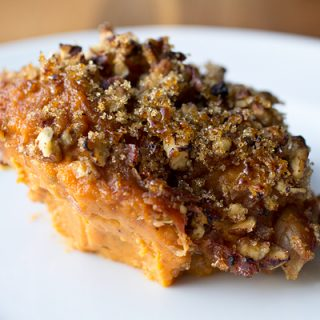 A Cozy Thanksgiving: Roasted Sweet Potato Brulee with Crispy Prosciutto and Brown Sugar—Sweet!