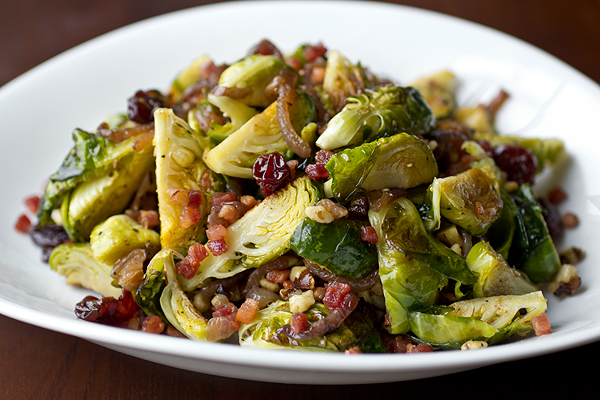 A Cozy Holiday: Cider-Glazed Brussels Sprouts with Crisp Pancetta, the Perfect Emerald Companions