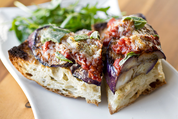 Grilled Eggplant Parmesan with Fiery Marinara on Crusty Garlic Toast