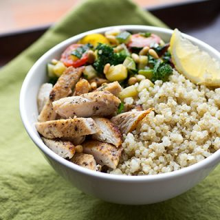A Cozy Resolution: Chicken & Quinoa Bowl with Veggies, And Losing That Christmas Cushion
