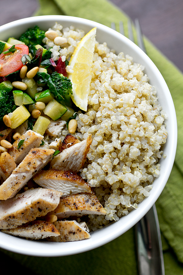 Chicken Amp Toasted Quinoa Bowls With Garlic Sauteed Veggies