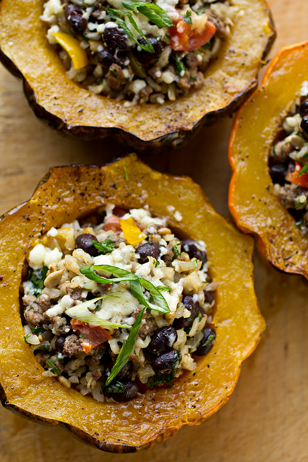Roasted & Stuffed Acorn Squash with Brown Rice, Seasoned, Lean Ground ...