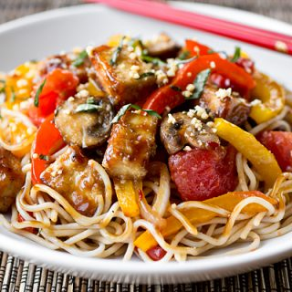 A Cozy Resolution: Not Missing A Meat With Thai-Style Crispy Tofu & Veg Over Noodles