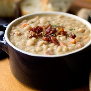 Creamy White Bean Stew with Smoky Bacon