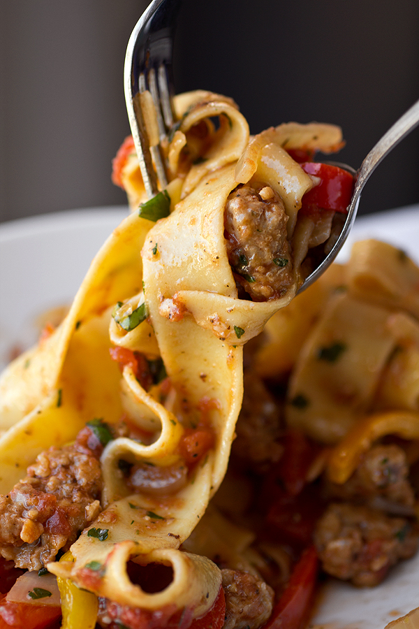 Saucy Italian Drunken Noodles With Spicy Sausage