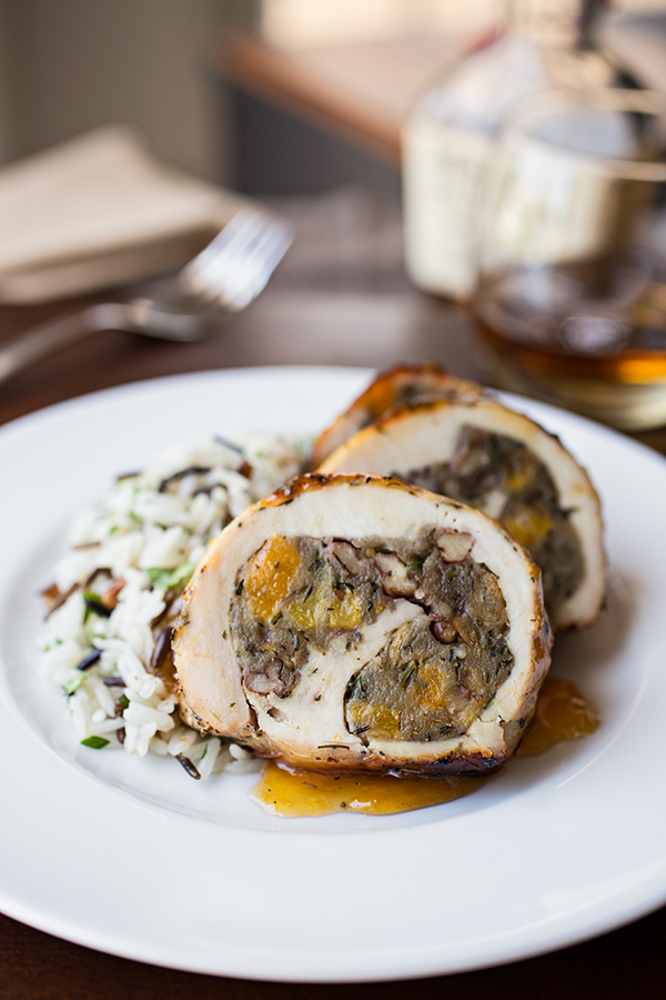 Apricot-Whiskey Chicken Roulade