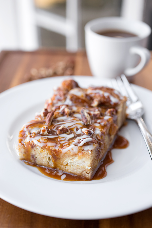 Cinnamon Roll Casserole on a Plate | thecozyapron.com