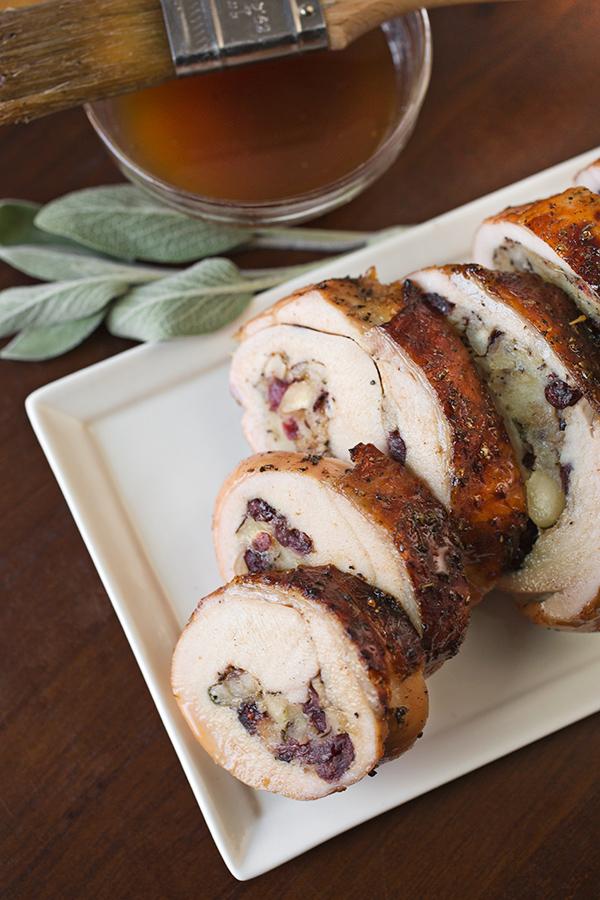 Turkey Roulade with Cranberry Hazelnut Stuffing | thecozyapron.com