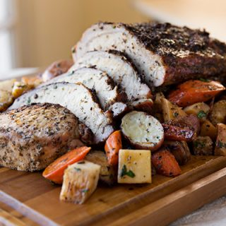Garlic-Crusted Roasted Pork Loin with Glazed Winter Vegetables, Seasonal Simplicity