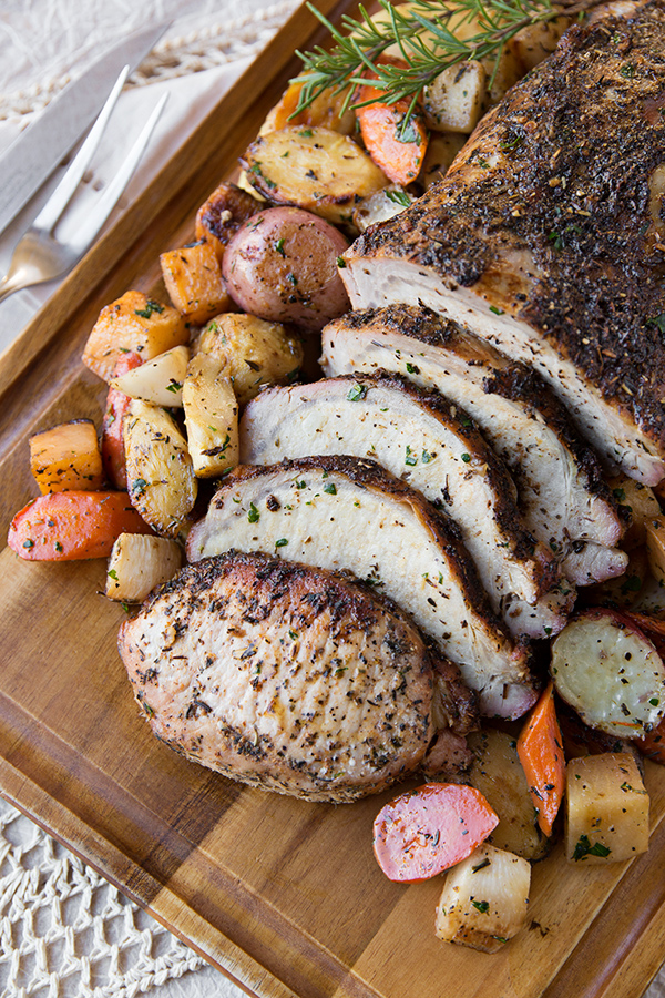 Garlic-Crusted Roasted Pork Loin | thecozyapron.com