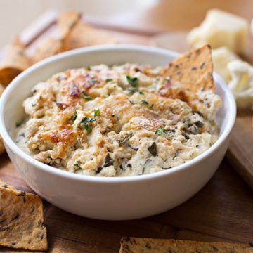 Hot & Cheesy Roasted Cauliflower and Spinach Dip