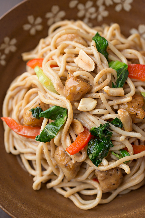 Peanut Chicken Over Brown Rice Noodles
