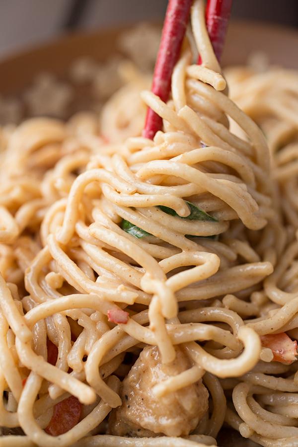 Peanut Chicken Over Brown Rice Noodles
