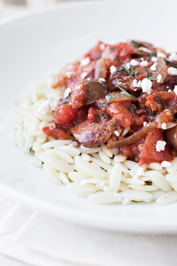 Greek Style Sausage Skillet Over Orzo
