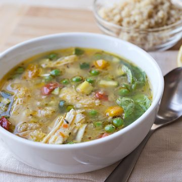Simple Lemony Chicken Soup with Spring Veggies | thecozyapron.com