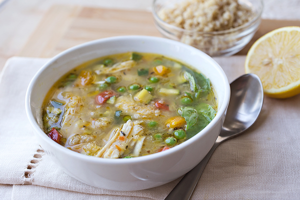 Simple Lemony Chicken Soup with Spring Veggies