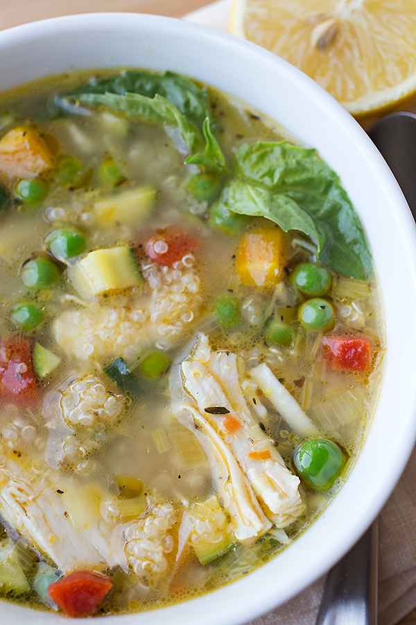 Simple Lemony Chicken & Spring Veggie Soup