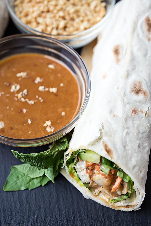 "Thai-Style Peanut Chicken ""Spring Roll"" Wrap"