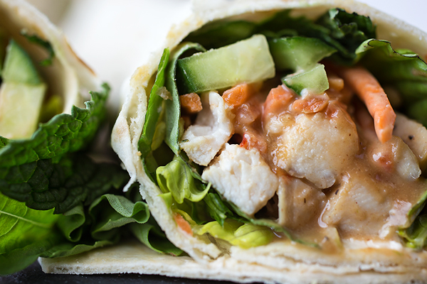 "Thai-Style Peanut Chicken ""Spring Roll"" Wrap"