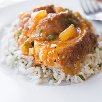 Sticky Chicken and Toasted-Green Onion Rice
