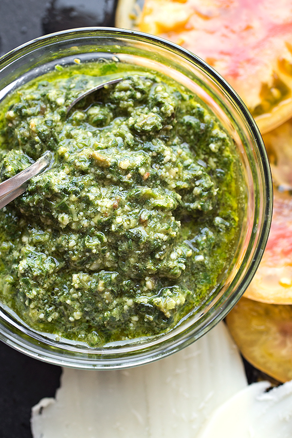 Homemade Pesto for Gourmet Grilled Cheese | thecozyapron.com