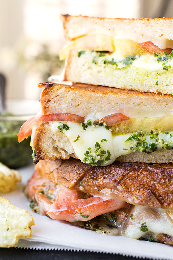 Tomato and Pesto Grilled Cheese
