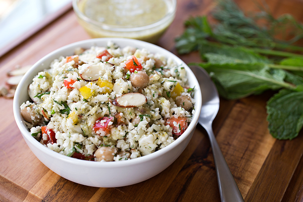 "Cauliflower ""Couscous"" Salad, and All Of Those Tasty Little Flecks Of Flavor In Life"