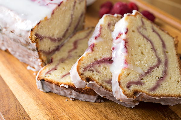 Raspberry Swirl & Greek Yogurt Cake