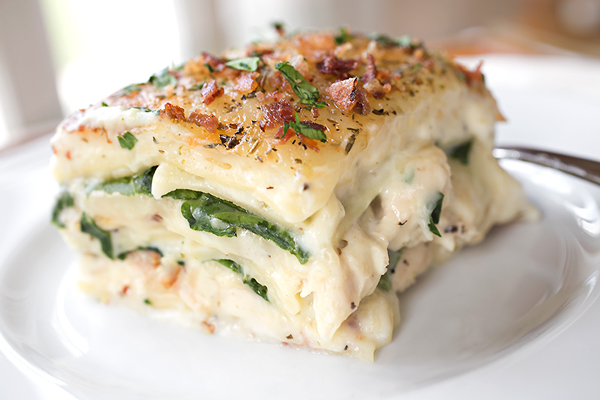 Creamy Chicken Florentine Lasagna with Two Cheeses, Baby