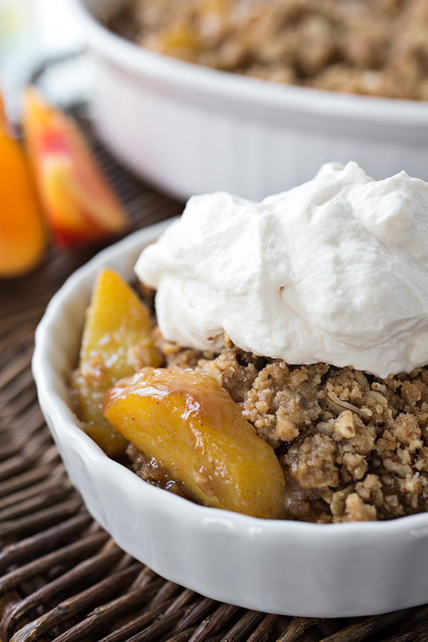 Warm Vanilla-Bourbon Peach Crisp