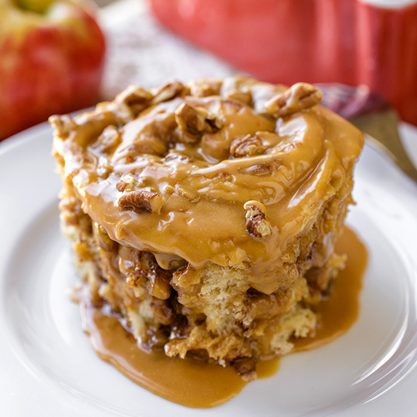 Caramel Apple Sticky Roll | thecozyapron.com