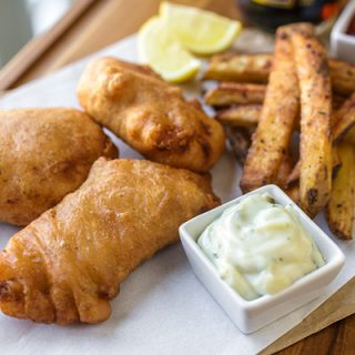 "Hard Cider-Battered Fish n' ""Oven"" Chips, Pub Style; a Fall-Inspired Version of a Crispy Classic"
