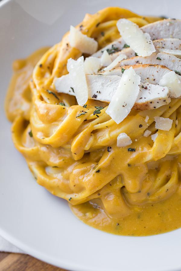 Pumpkin Cream Sauce Fettuccine | thecozyapron.com