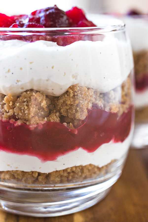 "Cranberry and Vanilla Bean ""Cheesecake"" Parfaits 